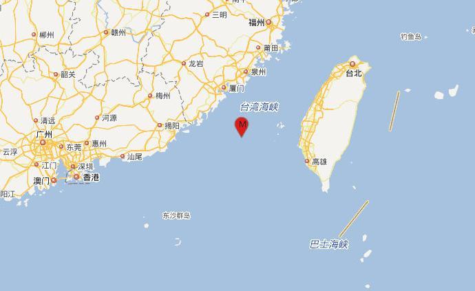台湾海峡发生3.8级地震,震源深度13千米