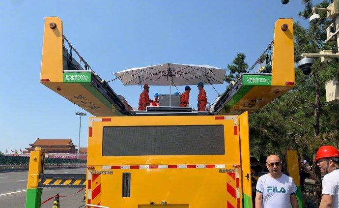 第五代华灯车亮相天安门广场,实现自动清洗