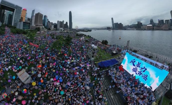 """感动!""""反暴力、救香港""""集会民众高唱国歌"""