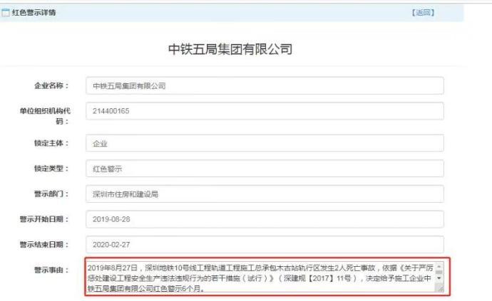 因10號線施工致2死,中鐵五局被深圳住建局紅色警示6個月