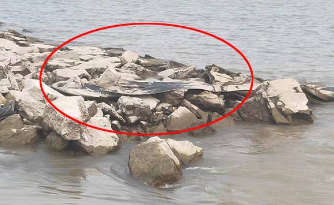 """""""三峡水怪""""近照来了:挂在池州一码头石堆上,疑似黑塑料布"""