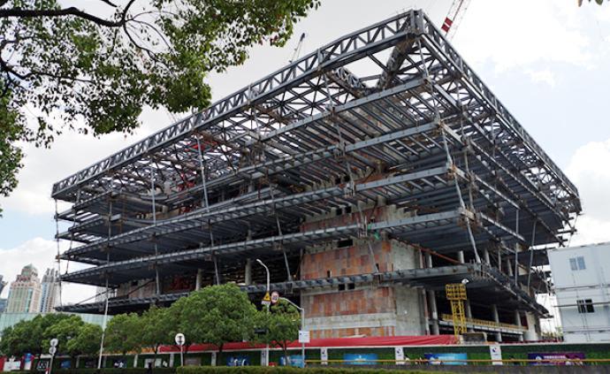 上圖東館主體鋼結構封頂:2020年竣工,2021年試運營