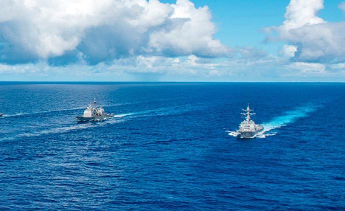 """日媒:美国将力争11月建成""""护航联盟"""",由55艘舰船组成"""