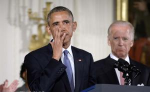 当地时间2016年1月5日,美国华盛顿,总统奥巴马在白宫举行新闻发布会,宣布一系列控枪举措,包括加强对购枪者背景审查和控枪执法等,以期望通过行政手段遏制美国频发的枪支暴力犯罪,他同时敦促美国国会在控枪问题上有所作为。图为奥巴马激动落泪。 东方IC 图