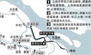 沪通铁路上海段规划调整,与沿江通道同一线路过江
