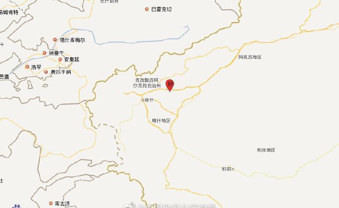 新疆喀什地區伽師縣發生5.4級地震,震源深度20千米
