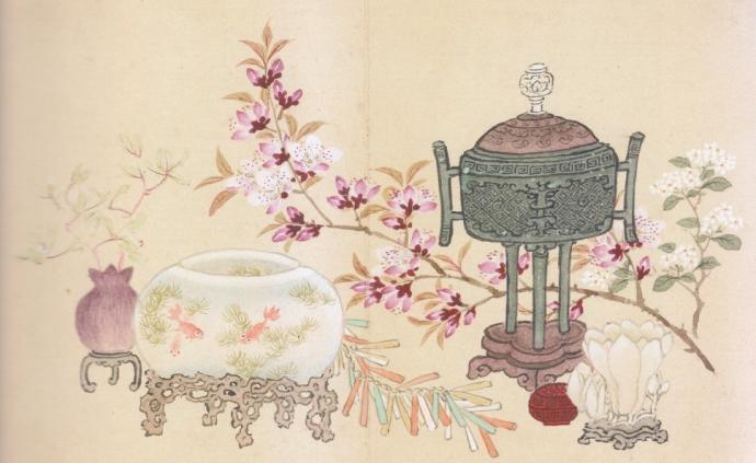 """""""岁朝清供""""的文化图景:玉梅冰蕊先含笑,春色来年胜旧年"""