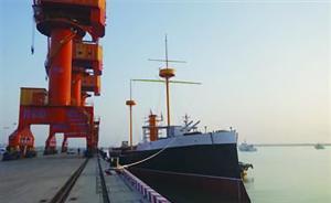 甲午海战致远舰1:1比例复制纪念舰下水,不能航行明年开放