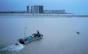 11月13日下午5时30分左右,边防民警和渔民借涨潮之际帮助座头鲸将头转向大海,在海上摩托艇的协助下引导它返回大海。视觉中国 图